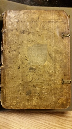 Notre Dame's alleged human skin book, now proven to be fake. Photo by Megan Rosenbloom posted with permission from Hesburgh Library at Notre Dame.